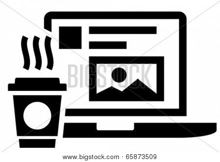 Black vector icon of hot coffee cup near laptop with social media on screen