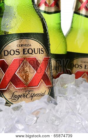 Closeup Of Dos Equis Beer Bottles
