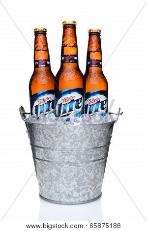 Miller Light Bottles In An Ice Bucket