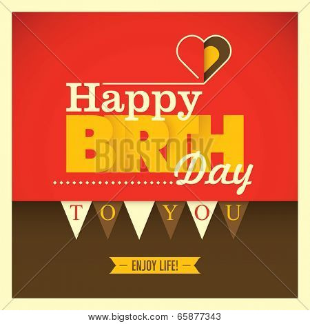 Colorful birthday card with modern design. Vector illustration.
