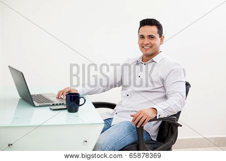Happy Man Working At His Office