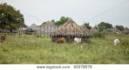 village on the African plains of South Sudan
