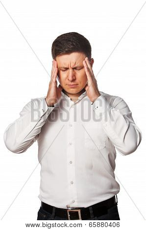 Young Man with a headache on white baskground