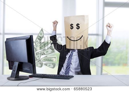 Happy Face Of Businessman Looking Money