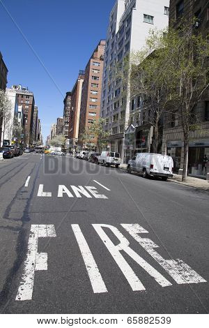Fire lane at Madison Avenue in Manhattan