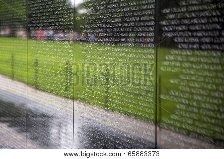 Names Of Vietnam War Casualties At Veterans Memorial