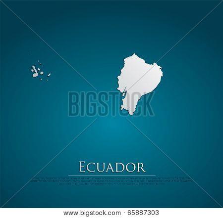 Ecuador map card paper 3D natural, high detailed vector