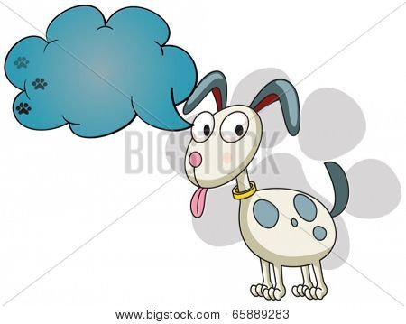 Illustration of a puppy with an empty callout on a white background