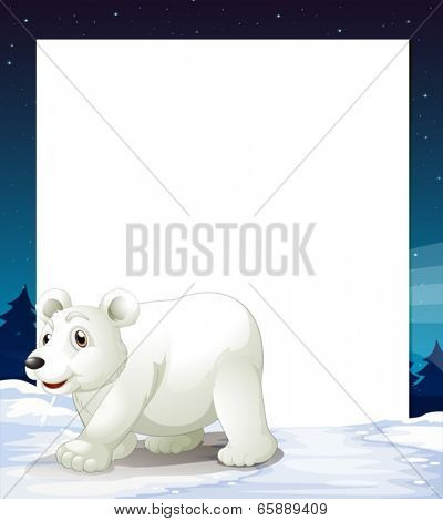 Illustration of an empty template with a polar bear