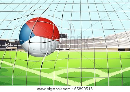 Illustration of a ball at the field with the flag of Netherlands