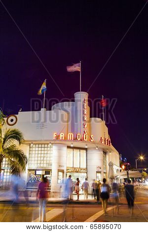People Go To Jerrys Famous Deli At Night In Sobe