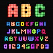 Colorful pixel font isolated on black background. poster