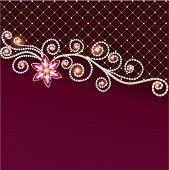 illustration background of jewelry and precious stones with flower poster