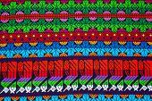 Mayan Ornament On A Blanket At Chichicastenango Market Guatemala poster