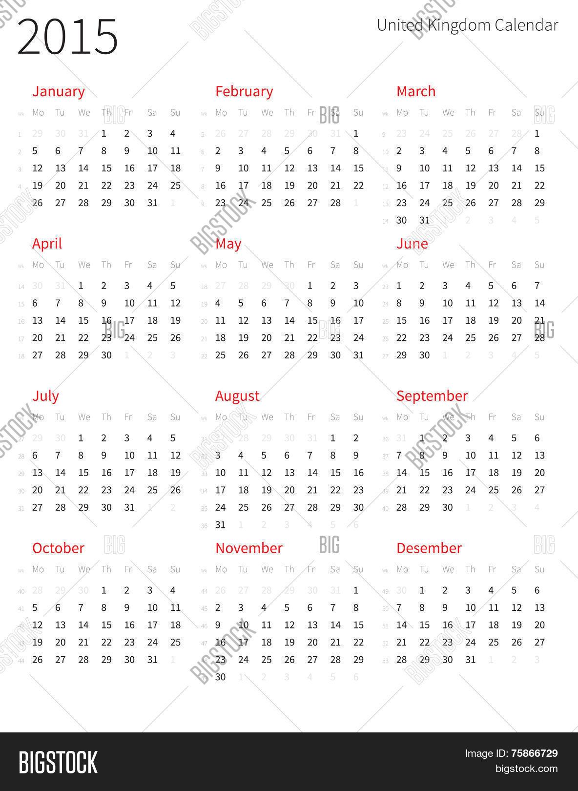 Year Calendar With Week Numbers : United kingdom year calendar vector photo bigstock