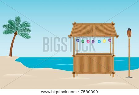 Bamboo Tropical Tiki Bar on Beach