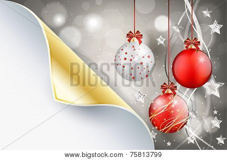 Bent Paper And Shiny Christmas Background With Christmas Balls