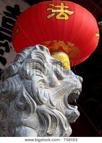 Chinese Lion and lantern as backgrpund using for decoration, Quanzhou, China poster