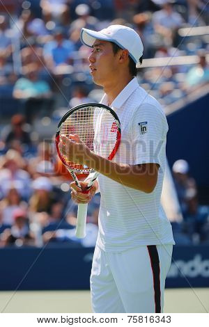 Professional tennis player  Kei Nishikori during US Open men semifinal match with Novak Djokovic