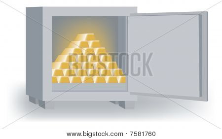 Open Safe with Gold Bars