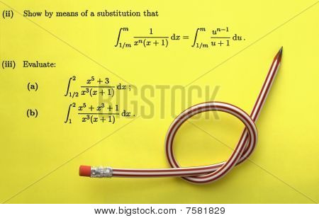 Mathematics paper and crooked pencil