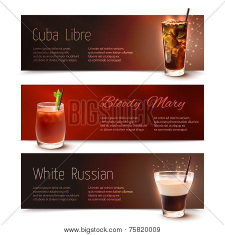 Cocktails banner set