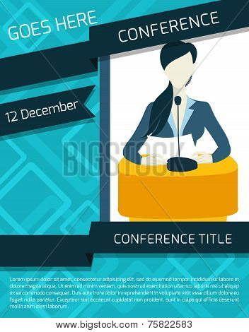 Public speaking person politician business speaker with paper and microphone conference announcement template vector illustration. poster