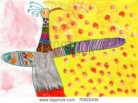 Child's Drawing Of Peacock Bird