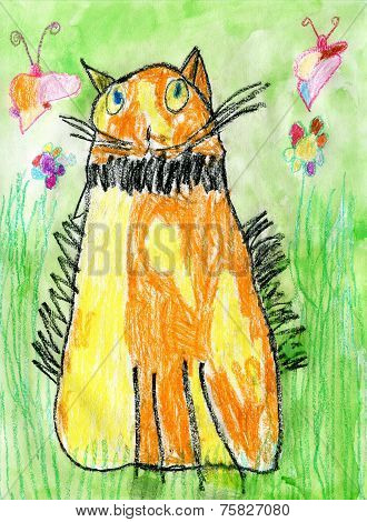 Child Drawing Of Red Cat
