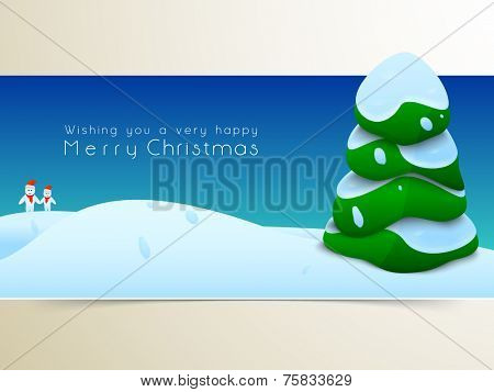 Merry Christmas festival celebration with X-mas tree covered by snow and stylish wishing text on winter night background.