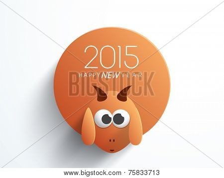 Chinese 2015 Year of the goat sticker, tag or label with goat face on grey background.