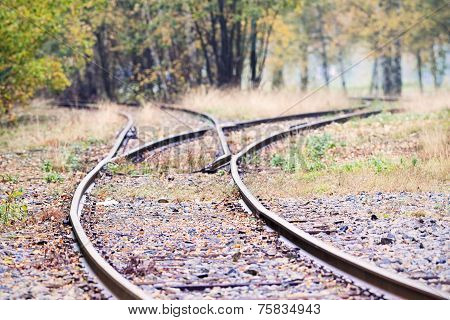 Railway Track Splits Into Two Directions