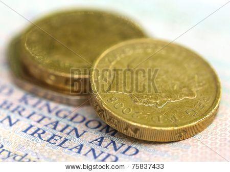 British Coin On A Passport