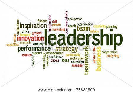 Leadership in business future concept word cloud poster