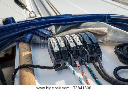 Sailing yacht ropes