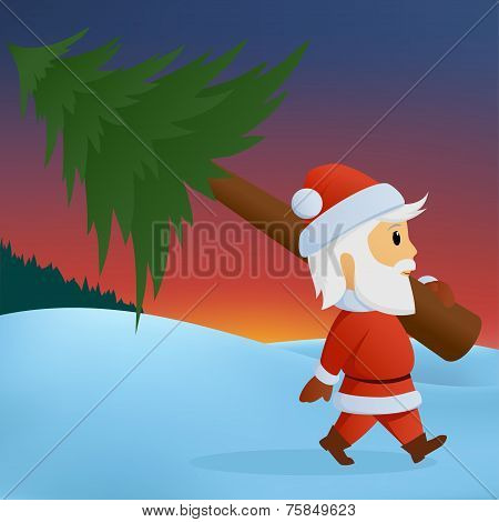 Santa Carry The Christmas Tree On Winter Background