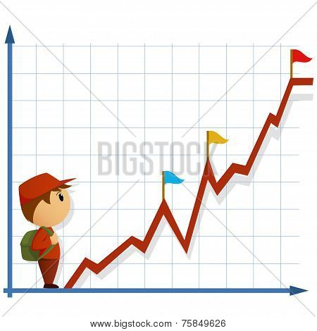 Cartoon Little Man With Bag And Infographic