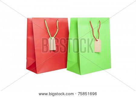 Two giftbags with tags isolated on white background