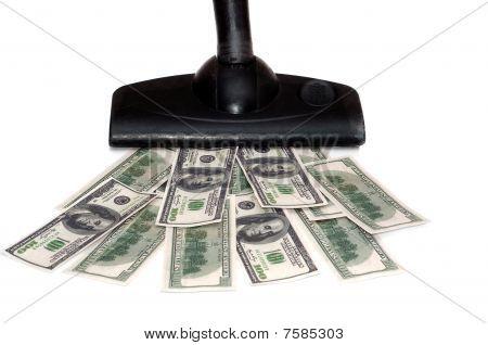 Sucking money vacuum cleaner