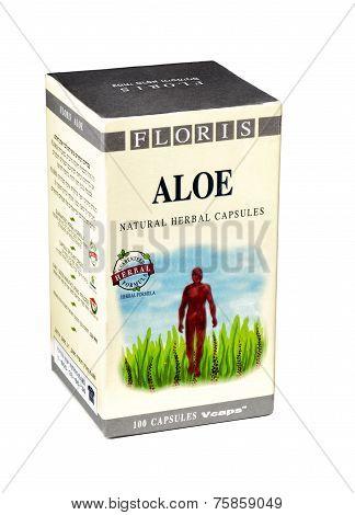 Carton Box Of Floris Aloe Natural Herbal Capsules