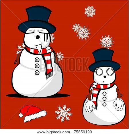 snow man cartoon xmas set04