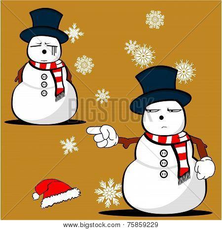 snow man cartoon xmas set02