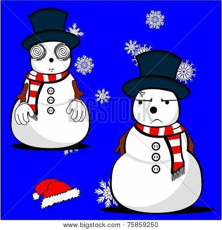 snow man cartoon xmas set01