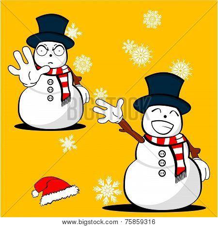 snow man cartoon xmas set8