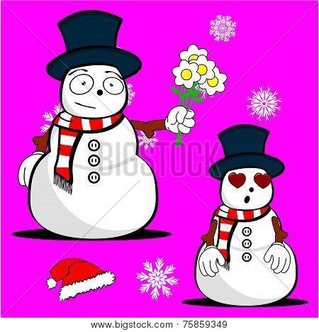 snow man cartoon xmas set7