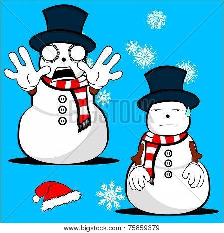 snow man cartoon xmas set5