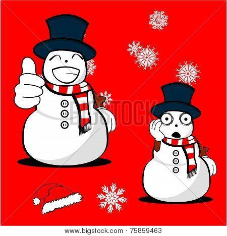 snow man cartoon xmas set1