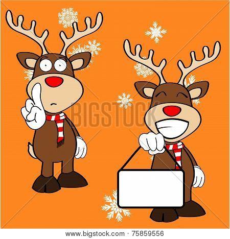 xmas reindeer cartoon expression set09