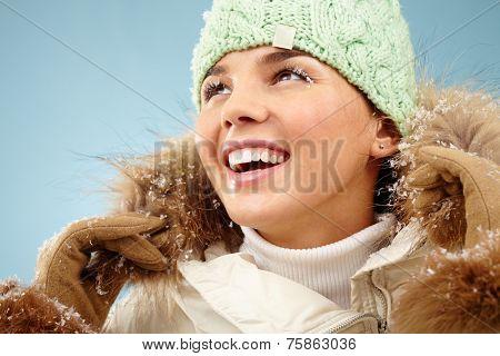 Happy woman in winterwear
