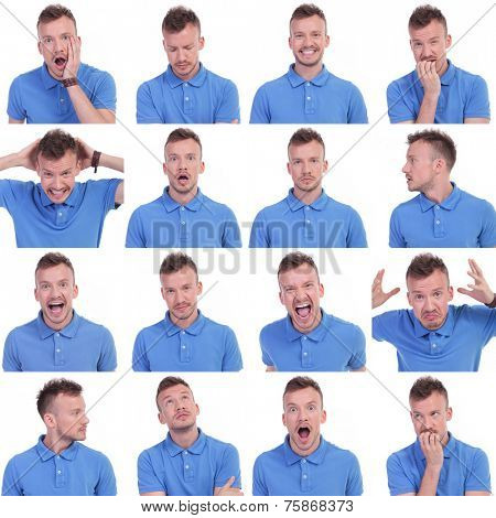 set of sixteen pictures of a young casual man showing various expressions. isolated on a white background